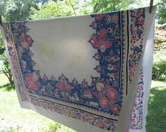 Large Vintage Cotton Tablecloth - Cutter for Sewing/ Crafting - Pink and Blue Country Print