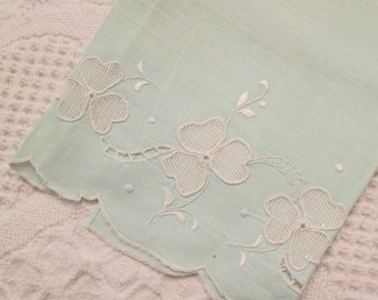 Vintage Linen Blend Fingertip Towel - Pale Mint With Applique and Embroidery