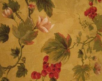 Vintage Waverly Window Valance - Gold Cranberry Green Damask
