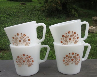 Four Vintage Pyrex Mugs - Summer Impressions