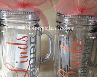 Personalized Mason Jar Tumbler with lid Straw Bride Monogram BPA Free 20 oz Double Wall Acrylic