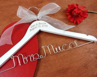 Engraved Wire Name Hanger - Custom Name Hangers - Bride Coat Hangers - Wedding Dress Hangers - Personalized Hangers - Bridal Wire Hangers