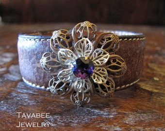 Upcycled leather cuff bracelet with Brass Filigree Flowers and Amethyst Glass Stone