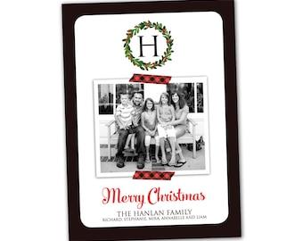 Tartan plaid Christmas card, red and black, tartan Christmas wreath monogram holiday card, custom plaid Christmas photo card
