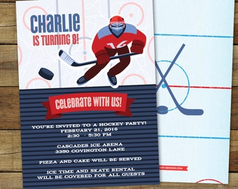 Hockey Birthday Party Invitation, Hockey Party Invitation, Printable Hockey Invitation