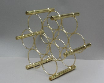 1970s Brass Faux Bamboo Wine Rack Hollywood Regency Style Holds 7 Bottles