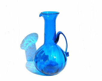 LARGE Blown Glass Jug Blue Art Glass Pitcher 1970s Vintage