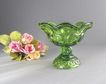 Vintage Green Bowl, Pedestal Bowl, Moon and Stars Bowl, Green Glass Footed Dish, Candy Dish, Green Compote