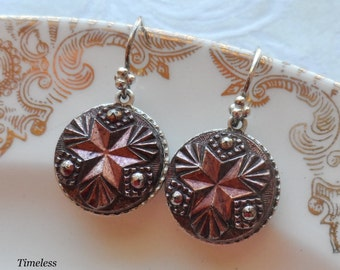 Antique Glass Button Earrings with Sterling Silver Earwires- Red Star