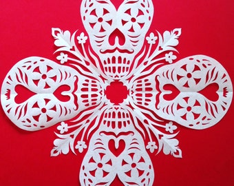 Calaveras #6 Snowflake DIY Template. Learn to fold and cut out your own snowflake!
