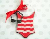 Girl Swim Ornament - Swimsuit Ornament - Swim Team Ornament - Goggles Ornament - personalized - Swim Coach gift - painted wood ornament