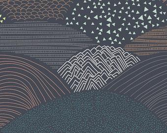Summit Twilight - Hello Bear - Bonnie Christine - Art Gallery Fabrics - HBR-5439 - Mountains Hills Peaks Night Navy