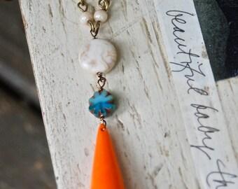 Boho long beaded pendant necklace colorful boho jewelry. Tiedupmemories