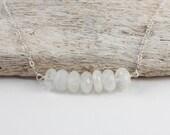 Moonstone Silver Necklace, Silver Moonstone Necklace, Moonstone Bar Necklace, Simple Silver Necklace, June Birthstone Necklace