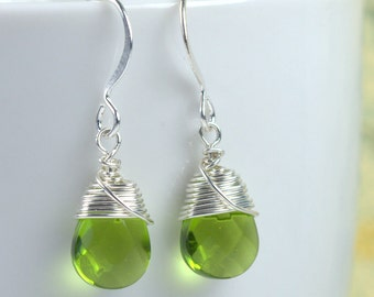 Sterling Silver Wire Wrapped Earrings, Green Sterling Silver Earrings, Silver Earrings, Green Earrings, #584