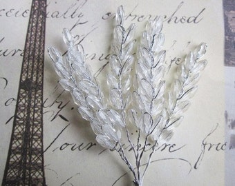 Beaded Flowers - Crystal Clear - Wheat Leaves - Millinery - Wedding - Embellishment