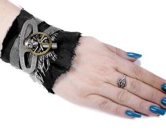 Steampunk Textile Cuff INDUSTRiAL Black LEATHER WINDING Clock Key Skull Bones Gears Rocker Biker Burning Man Cuff - Steampunk by edmdesigns
