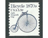 5.9c Bicycle stamp 1870s Transportation coil series .. Unused US Postage Stamps .. Pack of 10 stamps. Big Wheel bike, Roaring 90s age, Music