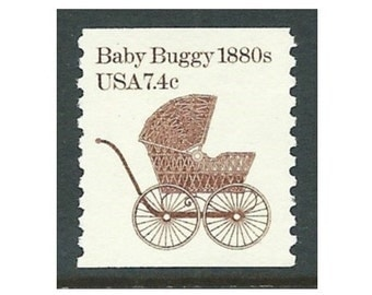 7.4c Baby Buggy 1880s Transportation coil series .. Unused US Postage Stamps .. Pack of 10 stamps