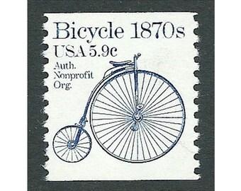 TEN 5.9c Bicycle stamp 1870s Transportation coil series .. Unused US Postage Stamps .. Pack of 10. Big Wheel bike, Roaring 90s age, Music