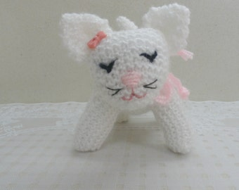 Toy cat small knitted cat knitted pet pets lovers kids baby toy white cat