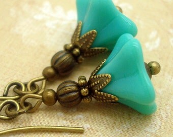 Neo Victorian Earrings with Turquoise Blue Glass Flowers