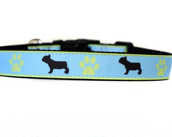 1 Inch Wide Dog Collar with Adjustable Buckle or Martingale in French Bulldog an Exclusive Design