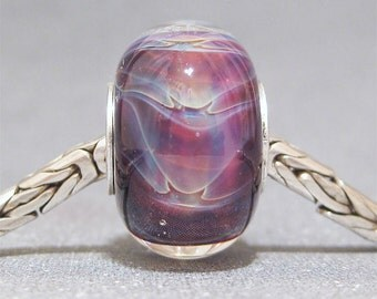 Handmade European Bracelet Charm SRA Lampwork Glass Bead OOAK Feathered