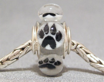 Handmade Paw Print Bead Lampwork Euro Charm Limited Edition Animal Lover