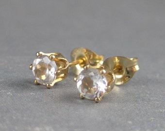 White topaz gold studs, genuine gemstones, goldfilled post earrings, white topaz earrings, gemstone earrings, gift for her, real gemstone