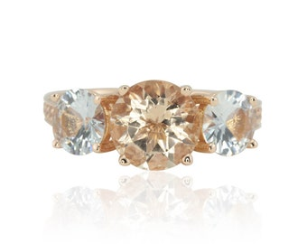 Morganite Rose Gold Ring,  Morganite and White Sapphire Three Stone Engagement Ring with Full Eternity Band and Engraved Detail - LS2128
