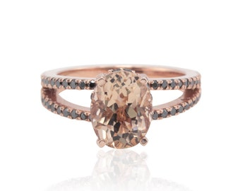 Rose Gold Engagement Ring - Oval cut Peach Morganite Ring with Black Diamond Split Shank and Filigree - Evelyn Collection - LS4687