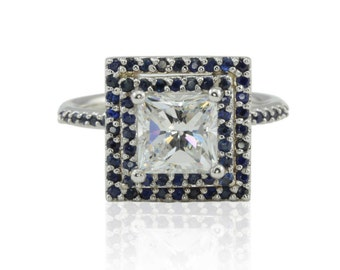 Cubic Zirconia Engagement Ring -Princess CZ Ring with Blue Sapphire Double Halo in 14k Gold - Diamond Alternative -Harper Collection -LS4487