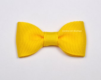 Yellow Baby Hair Bow ~ 2 in. Bow with No Slip Grip ~ Small Hair Bows Newborns Toddler Girls