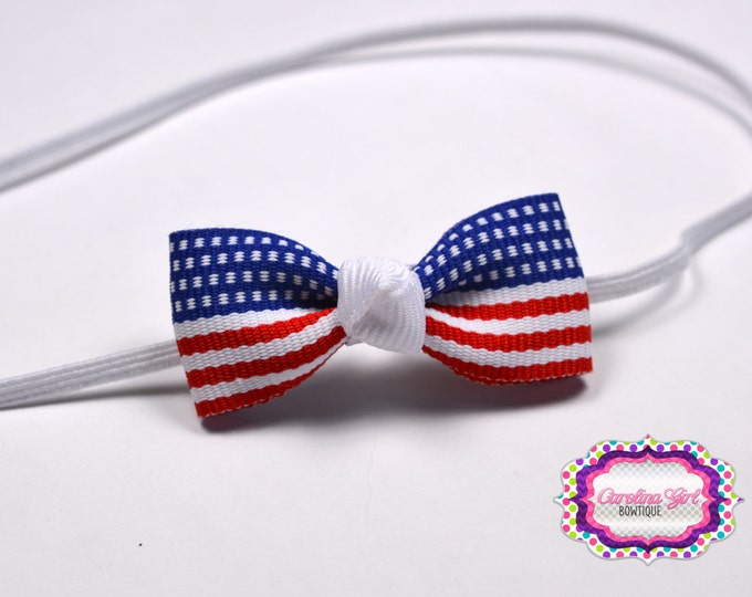 Patriotic Tiny Bow ~ Red White and Blue Americna Newborn Headband - Smallest Bow Headband - Girls Hair Bows