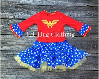 Superhero Wonder Woman Girl Tiered Tulle Dress, Superhero Wonder Girl  Costume, Superhero Birthday Party Dress, Superhero Party Dress