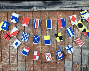 Nautical flags garland, A-Z, Small flags