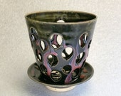 Black Pink and Blue Pottery Orchid Flower Pot with Air Vents and a Drip Saucer  - Make Your Orchid Happy!