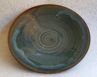 Blue Lunch Plate - Wheel Thrown Pottery - Chattered Texture - Ready to Ship