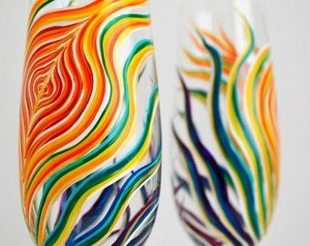 Rainbow Feather Wedding Flutes -- Personalized Hand Painted Rainbow Champagne Flutes, Rainbow Wedding, Rainbows, Gay Wedding, Gay Pride