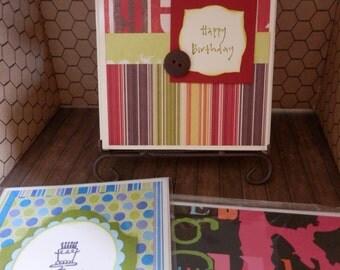 Birthday Cards Handmade Bright and Fun 3 Set On Sale