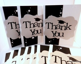 Graduation Thank You Greeting Card Set of 10 Silver and Black Graduation Hat