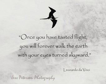 Inspirational Quote Typography Wall Art Bird In Flight Photo Print Nature Photo Print Black & White Home Decor Da Vinci JM Barrie Quote Art