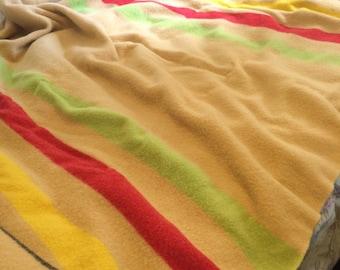 Vintage Mariposa Wool Colorblock Blanket