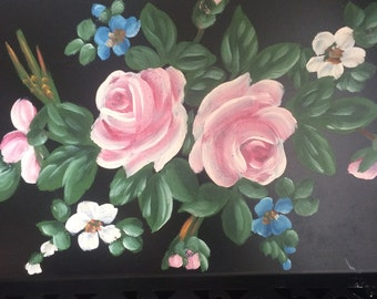 Vintage Oblong Tole Tray Black with Roses