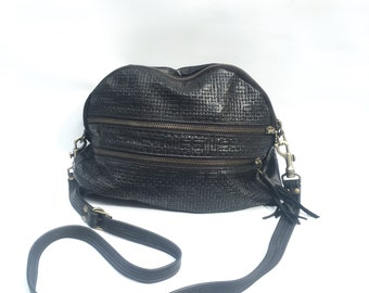 NEW AW13 double Leather bag // black badket weave embossed cow hide
