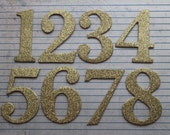 2 1/2 inch tall Numbers gold glittered cardstock on chipboard diecuts [choose quantity, plain or sticker back]