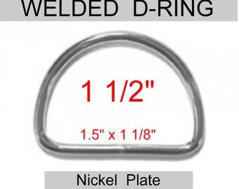 """10 PIECES - 1 1/2"""" - WELDED D Rings, Metal, 1.5, 38mm - 10 gauge - Nickel Plated Steel"""