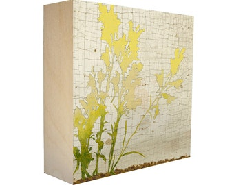 Limited Edition Botanical Print on Birch Wood Panel, Sustainable and Archival, Nature Plant Silhouette - Free Shipping - Wild Flowers No. 2