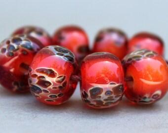 Dark Pinkish Orange and Green Boro Beads